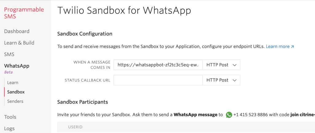 Whatsapp Sandbox konfiguration