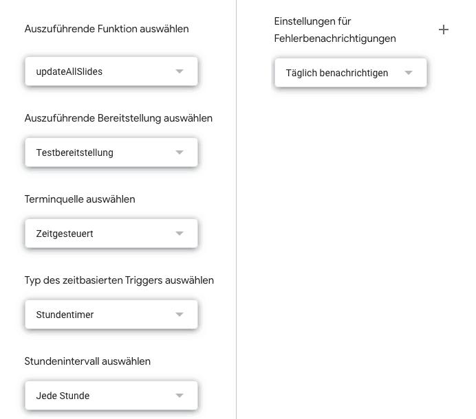 Triggersettings in Google App Script