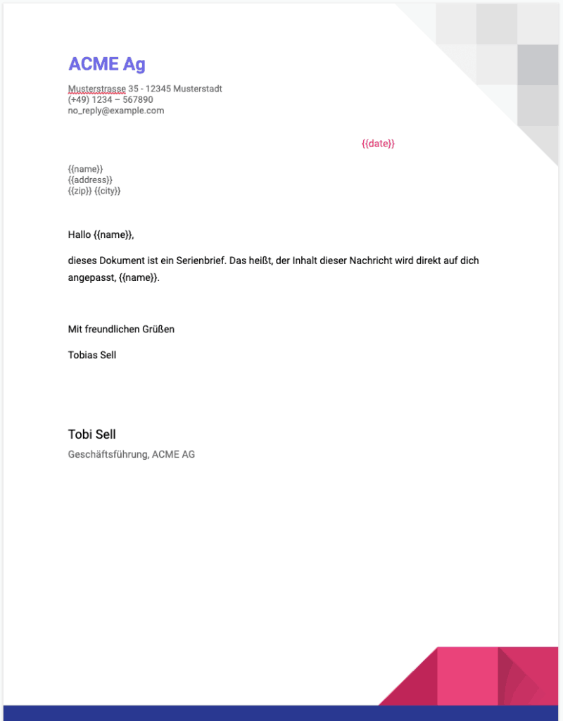 Google Docs Briefvorlage